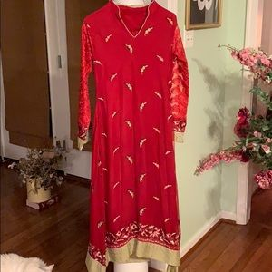 Red Pakistani gown heavy dupatta chiffon small